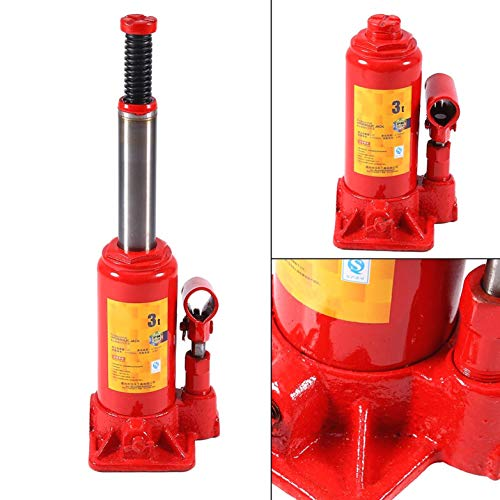 TRUUA Botella 1PC Gato hidráulico de elevación de Acero Jack Gato de la Botella de Servicio Pesado de 3 toneladas para el Coche del Carro del Barco Van Caravana