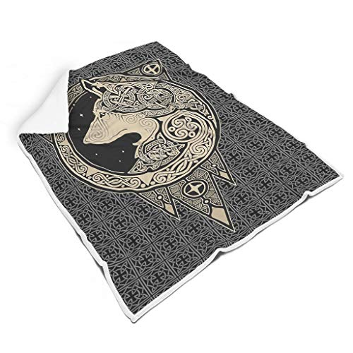 Gaolucky Viking Wolf Soft Bright Colours Couch Blanket for Sofa, No Lint for Baby or Adults, Beautiful Style, White, 130 x 150 cm