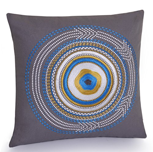 Jovi Home Rimini Hand Embroidered Decorative Pillow, 16-Inch by 16-Inch, Gray/Blue
