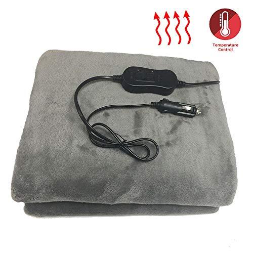 Rubyu verwarmde deken, 12 V elektrische comfortabele fleece vrachtwagendeken, warme reisdeken, voor thuiskantoor
