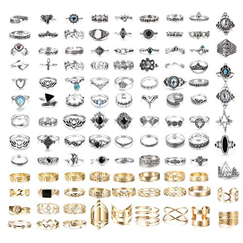 Milacolato 108 Pcs Knuckle Rings Set Stackable Ring for Women Girls Bohemian Retro Vintage Joint Finger Rings