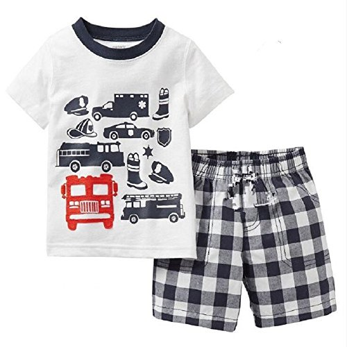 Hooyi Baby Boy Sleepwear Cotton Children Short Sleeve Car Police Pajamas Set (4Year)