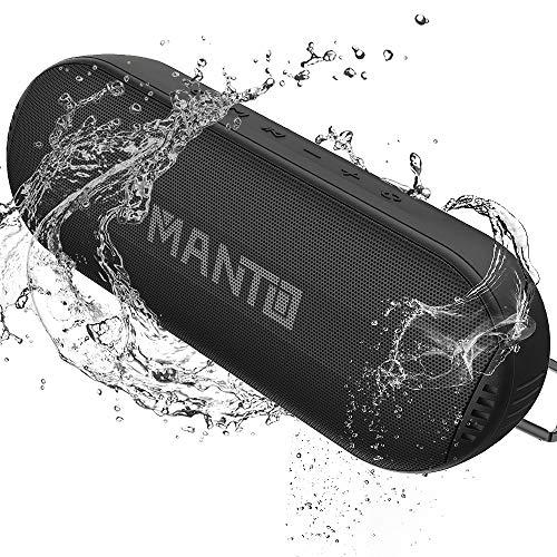 MANTO Bluetooth luidspreker, draagbare draadloze luidspreker, hifi geluid en rijke bassen, waterdichte IPX6-luidspreker, geïntegreerde microfoon AUX SD-ingang voor iPhone Samsung Android
