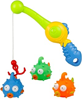 Fajiabao Bathtub Toys Fishing Games Bath Tub Squirt Water Toys Floating Puffer Fish with Rod Set Fun Pool Shower Bathroom Toys Gift for Baby Toddlers Kids Infants Girls Boys, Color Random