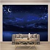 Msrahves Papel tapiz estéreo 3D Noche cielo estrellado luna paisaje. Xxl Papel Pintado Tejido No Tejido Decoración De Pared Decorativos Murales Moderna De Diseno Fotográfico Fotomurales 3D