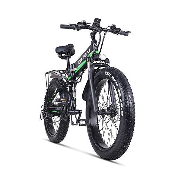 Electric Bikes GUNAI Electric Bike 26 Inches Folding Fat Tire Snow Bike 12Ah Li-Battery 21 Speed Beach Cruiser Mountain E-bike with…