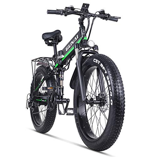 GUNAI Electric Bike 26 Inches Folding Fat Tire Snow Bike 12Ah Li-Battery 21 Speed Beach Cruiser Mountain E-bike with Rear Seat