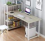 TOPYL Computer Desk Mit 4 Stufe Bücherregale,Moderner Stil Schreibtabelle Hause...