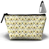 Flying Funny Bees Multifunction Portable Pouch Trapezoidal Storage Toiletry Bag
