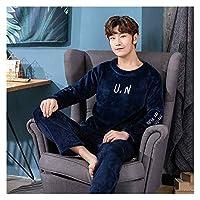 Home+ パジャマセット 男性のパジャマのセット暖かい秋と冬のフランネルの厚い長袖のパジャマトップ+パンツ (Color : R HS 3888, Size : X-Large)