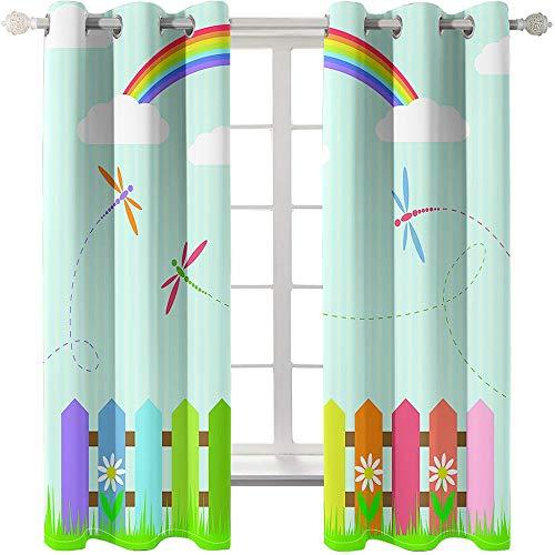 SUZIHUA Verdunkelungsvorhang 3D Zaun Regenbogen Massiver Vorhang Isolierung Fensterdekoration Öse Wohnzimmer...
