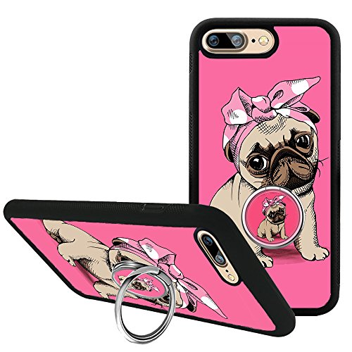 Mr dud iPhone 7 8 Plus Case with Phone Stand Holder, Pink Pug Dog Case Compatible with iPhone 7 8 Plus, Cute 360 Degree Rotating Ring Grip Bumper Protective Cover for iPhone 7 Plus/8 Plus 5.5 inch