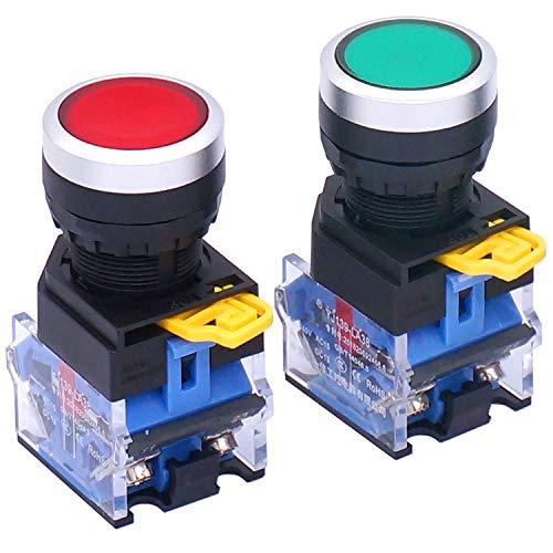 Taiss/2 Stück 22mm Schalttafeleinbau 10A 440V 1NO 1NC DPST Rot Grün Momentan-Druckschalter Druckknopfschalter LA38-11BN/GR