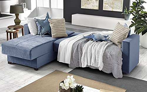 Sofá cama esquinero de 2 plazas – Tejido maya azul – Chaise longue izquierda – (225 x 158 x 86 cm)
