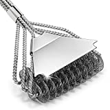 Grill Brush Bristle Free with Scraper, 3 In 1 Triple Helix Efficient Cleaning, 18' Stainless Steel Safe BBQ Grill Cleaning Brush for Weber Gas/Ceramic/Iron/Charbroil Grill Grates