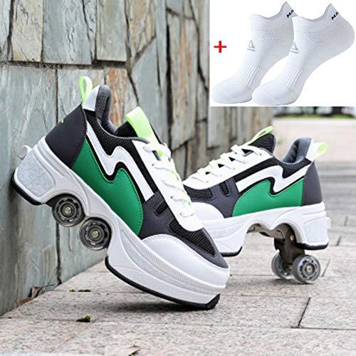 NOLLY Rollerskates Inline Skate, 2-in-1 multifunctionele schoenen, verstelbare Quad Rolschaatsen