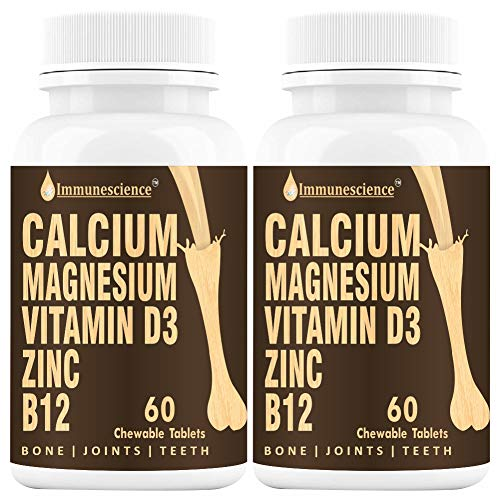 Immunescience Calcium Vitamin D3 Magnesium Zinc and B12 Tablets For Strong Bones and Joints Stamina Strength For Men Women Kids Coffee Flavor 1250 mg- 120
