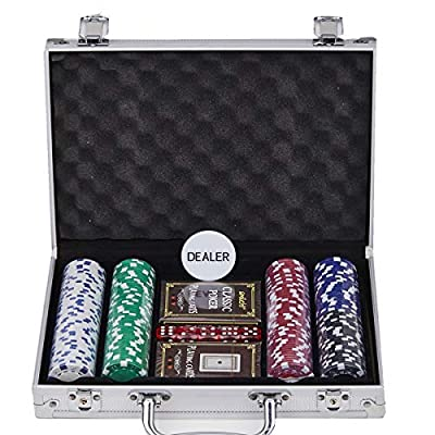Smilejoy 200PCS Casino Poker Chips Set,11.5 Gram for Texas Holdem Blackjack Gambling with Aluminum Case