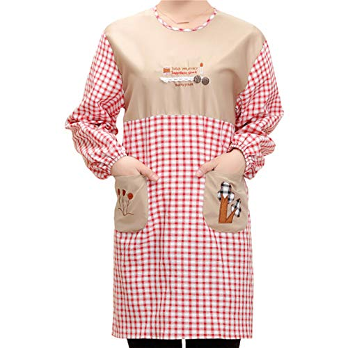 Long-Sleeved Aprons, Fashion Cute Cotton Gowns With Sleeves, Kitchen Aprons, Anti-Dress, Single