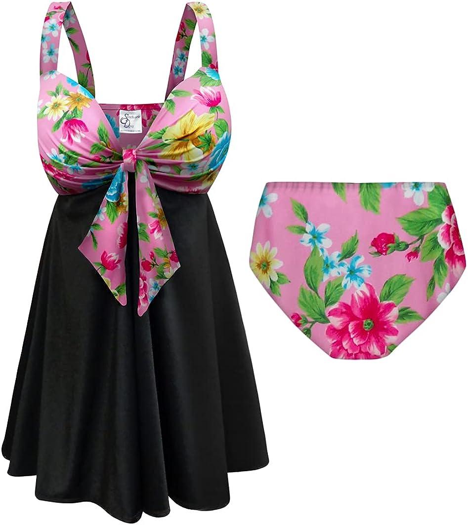 Sanctuarie Designs Plus Size Swimsuit 2-PC Sweetheart Swimdress I'm Happy Print