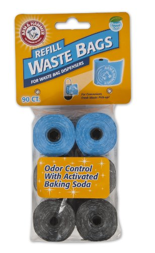 DISPOSABLE WASTE BAG REFILLS: Dog waste bags for dispensers are freshly scented & feature activated baking soda to eliminate odors, perfect for long walks. Fits standard dispensers. 2 times thicker than grocery bags. WASTE REMOVAL ON-THE-GO: Dog poop...