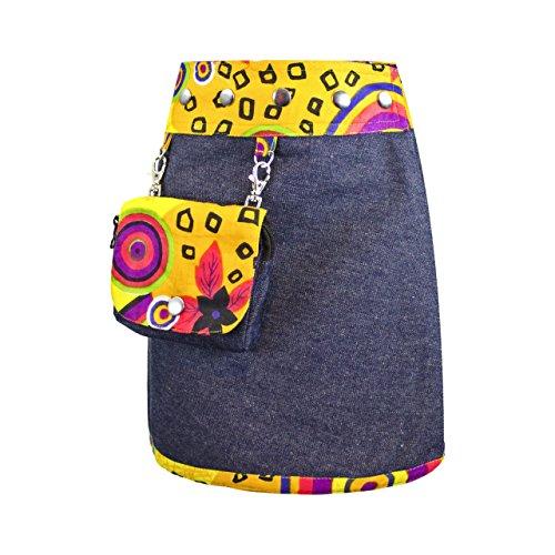 SUNSA Mädchen Rock Jeansrock Minirock Wickelrock Wenderock Sommerrock Mädchenrock aus Baumwolle, 2 optisch verschiedene Röcke mit einem abnehmbaren Täschchen, Größe ist variabel verstellbar gelb