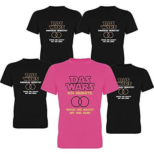 DAS Wars heiratet & Ich heirate mit Name des Bräutigams Junggesellen-Abschied T-Shirts Herren 258.031 (M, Motiv Begleitung (schwarz))