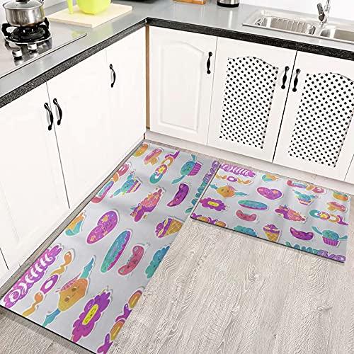 Alfombras Cocina Goma Alfombra de Baño Ducha 2PCS Gato Helado Letras Únicas Donut Lindo Unicornio alfombras de Cocina Antideslizantes Lavables