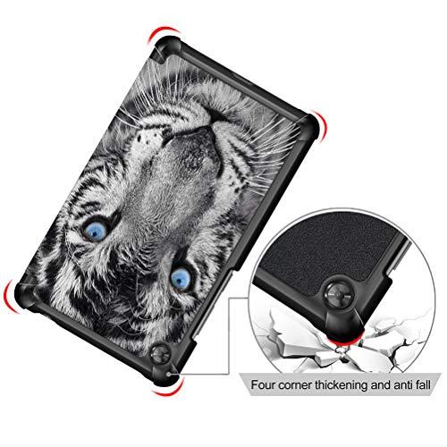 Yoedge Hülle Kompatibel mit Lenovo Tab M7 2019, PU Leder Tasche Ständer Schutzhülle mit Muster Motive,Schutzhülle Trifold Stand Intelligent Abdeckung Schlafen/Wachen, Tiger