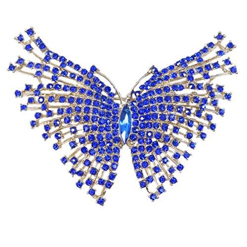 Flyonce Broches Finas Mujer Serie de Animal - Mariposa Grande Encaje para Regalo Boda Fiesta Azul Tono Dorado