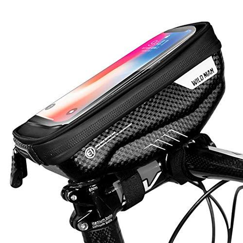 SHIZIZUO Bolsas de marco de bicicleta, bolsa de manillar de bicicleta Ciclismo duro Shell táctil teléfono titular bolsa