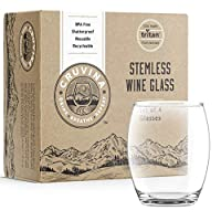Unbreakable Stemless Plastic Wine Glasses: Shatterproof Tritan Cups, Ideal for Indoor and Outdoor Use, Elegant and Practical, 13 Ounce Glass Set of 4 [並行輸入品]