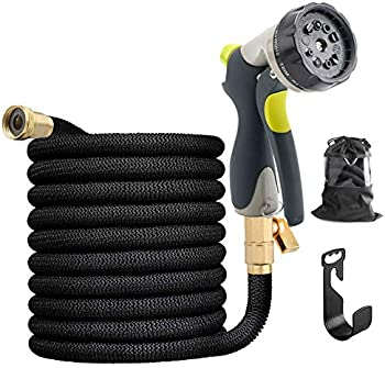 HYYZ 50FT Durable Flexible Water Hose, 10 Function Metal Nozzle
