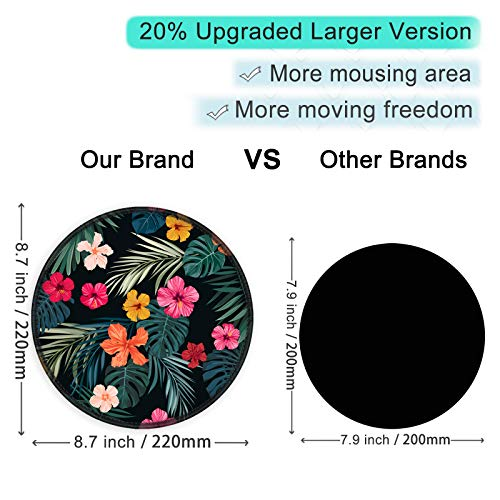 ITNRSIIET [20% Larger] Mouse Pad with Stitched Edge Premium-Textured Mouse Mat Waterproof Non-Slip Rubber Base Round Mousepad for Laptop PC Office 8.7×8.7×0.12 inches, Beautiful Floral Photo #4