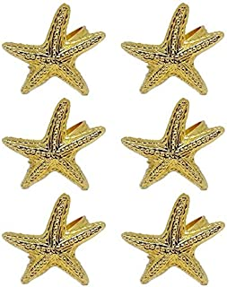 Shaheen Home Collections Gold Plated Starfish Napkin Ring for Dining Table Decoration - Set of 6 Gold Finish Serviette Rin...