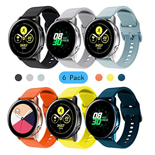 Syxinn Compatibile con Cinturino Galaxy Watch Active/Active 2 40mm 44mm 20mm Braccialetto di Silicone Cinturinoi Polso Band Ricambio Strap per Galaxy Watch 42mm/Gear Sport/Gear S2 Classic/Vivoactive 3