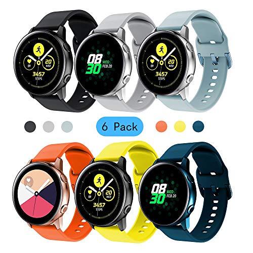 Yayuu Compatible avec Bracelet de Montre Samsung Galaxy Watch Active/Active2 40mm/44mm, 20mm Bande de Silicone Sangle pour Galaxy Watch 42mm/Gear Sport/Gear S2 Classic/Vivoactive 3/Ticwatch 2