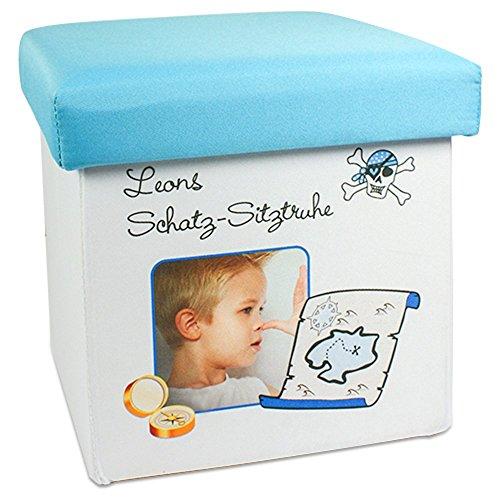 Sitzhocker für Kinder mit Foto Bild Motiv und Namen Tetx oder Spruch selbst gestalten und bedrucken ✓ Sitzbank mit Stauraum ✓ Spielzeugkiste ✓ Aufbewahrungsbox ✓ Spielzeugtruhe ✓ Kindersitz