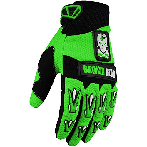 Broken Head MX-Handschuhe Faustschlag - Motorrad-Handschuhe Für Motocross, Enduro, Mountainbike - Grün - Größe M