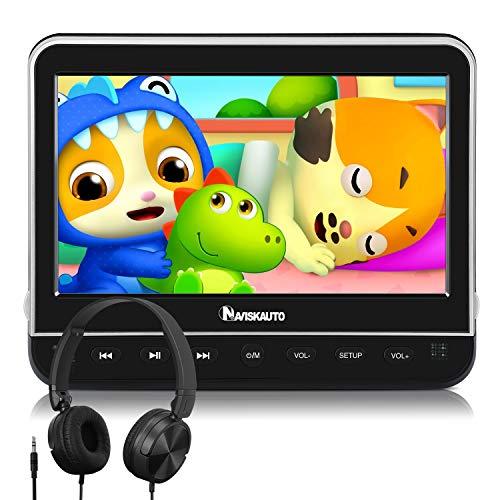 10.1' Reproductor de DVD para Coche con Entrada HDMI, Video para Reposacabezas con Auriculares Soporte MP4/ 1080P/ MKV/USB/SD/AVI, AV- In/out, Se Puede Conectar con TV - NAVISKAUTO