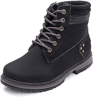 Botas Nieve Mujer Otoño Invierno Calentar Piel Forro Botines Retro Snow Boots Cordones Zapatillas Planas Negro Caqui Gris ...
