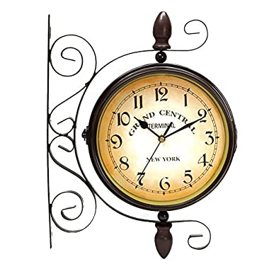 Puto Vintage-inspired Double Sided Wall Clock - Wrought Iron Train Station Style Round Clock With Scroll Wall Side Mount - 360 Degree Rotation Home Décor
