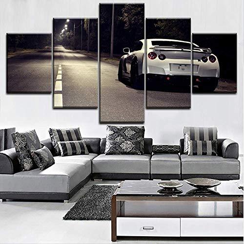Leinwandbild Moderne Leinwand Wandkunst Home Dekorativ für Wohnzimmer HD gedruckte modulare Typ Poster 5 Stück Skyline GTR Auto Malerei