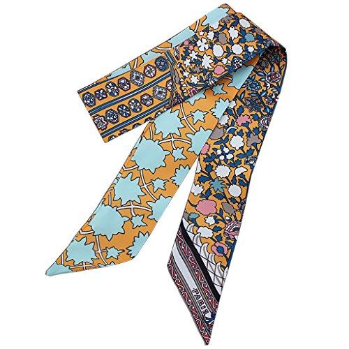 Kofun satijnen lint, sjaal van de band van de hoofdband voor haar van de bruiloft, retro print met bloemenpatroon A