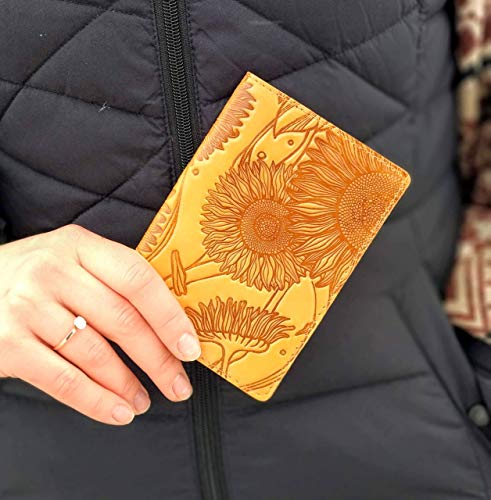 Passport Cover Sunflower Print Real Leather Handmade Full Grain Leather Passport Holder Handmade Travel Wallet ID Cover Yellow Case Gift Turtle Barefoot