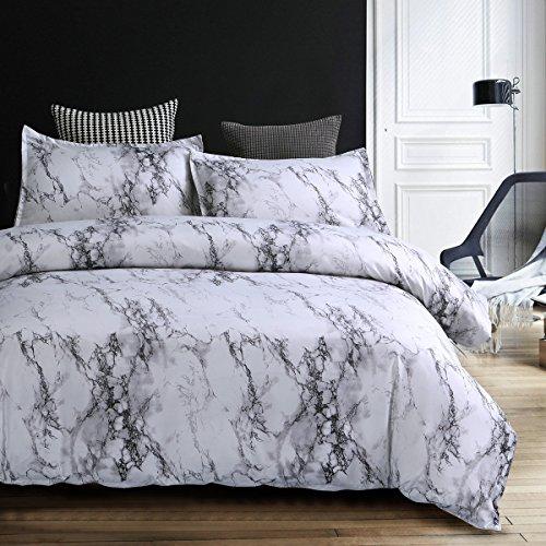 Bettwäsche Bettbezug Set 220x240cm Weiß Grau Marmor Muster Modern Style Mikrofaser Bettbezug mit Reißverschluss Schließung Bettwäsche-Set für Männer und Frauen
