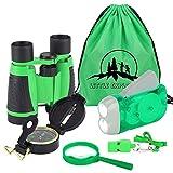 VGEBY1 Explorador de la Naturaleza para Niños : Binoculares, Linterna, brújula, Silbato, Lupa y Mochila con cordón. Young Explorer Toys Kit para Jugar afuera o en el Patio - 4 Colores(Verde)