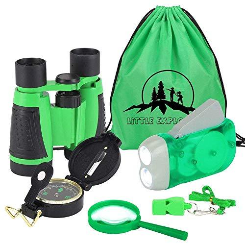 VGEBY1 Fernglas Set für Kinder, 6PCS Kinder Ferngläser Handkurbel Taschenlampe, Mini Kompass, Lupe, Whistle und Kordelzug Rucksack Spielzeug Kit für Camping Wandern(Grün)