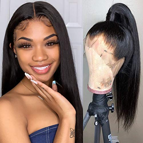 Lemoda Brazilian 360 Lace Frontal Wigs Pre Plucked 150% Density Straight Virgin Human Hair with Natural Color 10 inch