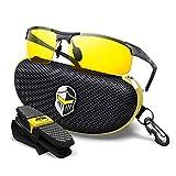 BLUPOND HD Night Vision Driving Glasses for men Semi-Polarized - Knight Visor (Titanium Frame)